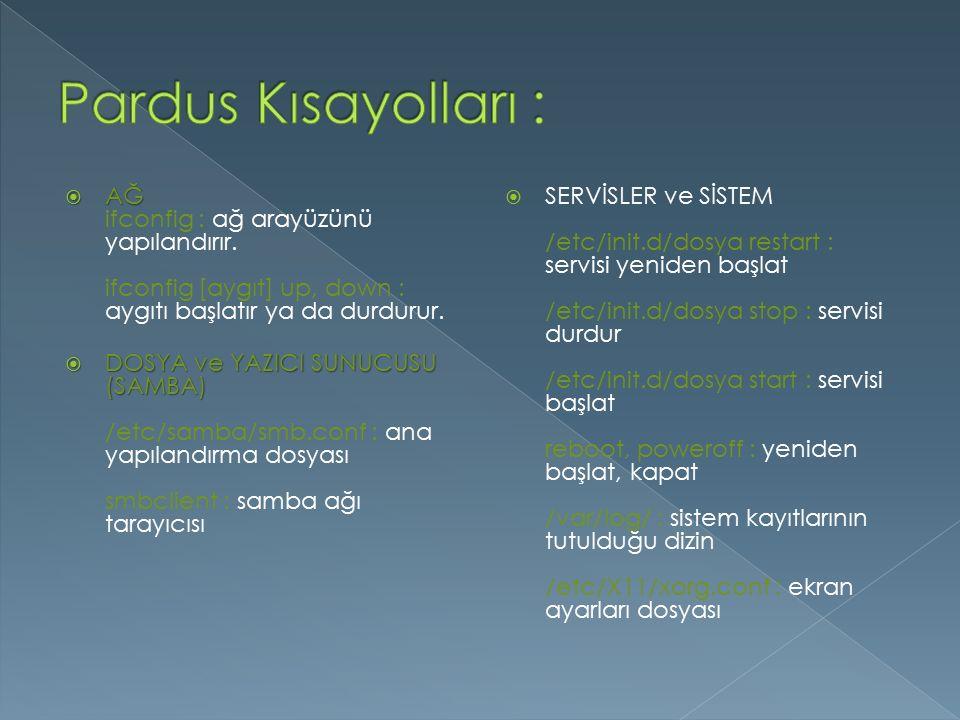 Pardus Kısayolları : AĞ ifconfig : ağ arayüzünü yapılandırır. ifconfig [aygıt] up, down : aygıtı başlatır ya da durdurur.